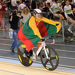 Simona Krupeckaite with flag of Lithuania.jpg
