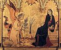 Simone Martini - The Annunciation and Two Saints excerpt.JPG