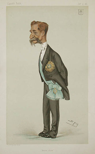 "Sir Richard Temple, 1st Baronet - ""Burra Dick"" Temple as caricatured by Spy (Leslie Ward) in Vanity Fair, January 1881"