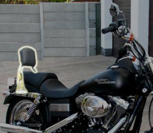Sissy bar - A sissy bar (highlighted) mounted on a Harley-Davidson Dyna