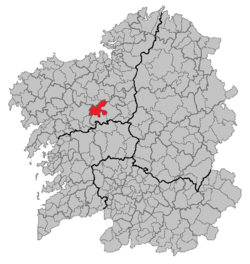 Location of O Pino within Galicia
