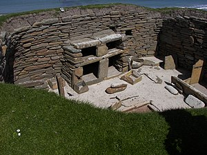 Neolithic British Isles - The inside of the Neolithic houses constructed on Skara Brae in Orkney, northern Scotland.