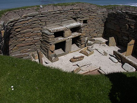 The inside of the Neolithic houses constructed on Skara Brae in Orkney, northern Scotland. Skara Brae house 1 5.jpg