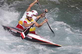 Poland at the 2012 Summer Olympics - Image: Slalom canoeing 2012 Olympics C2 POL Piotr Szczepański and Marcin Pochwała