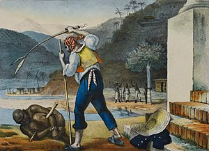 Slavery in Brazil - Slavery in Brazil by Jean-Baptiste Debret (1834–1839). A slave owner punishes a slave in 19th-century Brazil.