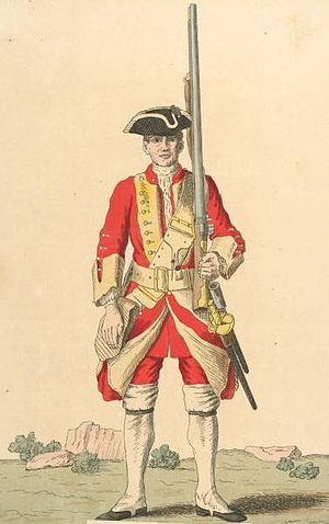 Battle of Cartagena de Indias - British soldier of the 15th Regiment of Foot 1740s from the Cloathing Book of 1740