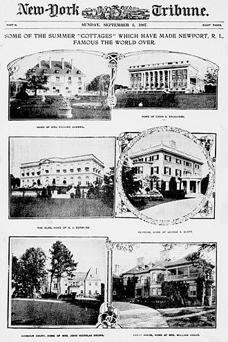 John Nicholas Brown II - Brown's Newport, Rhode Island cottage (bottom left), among others.