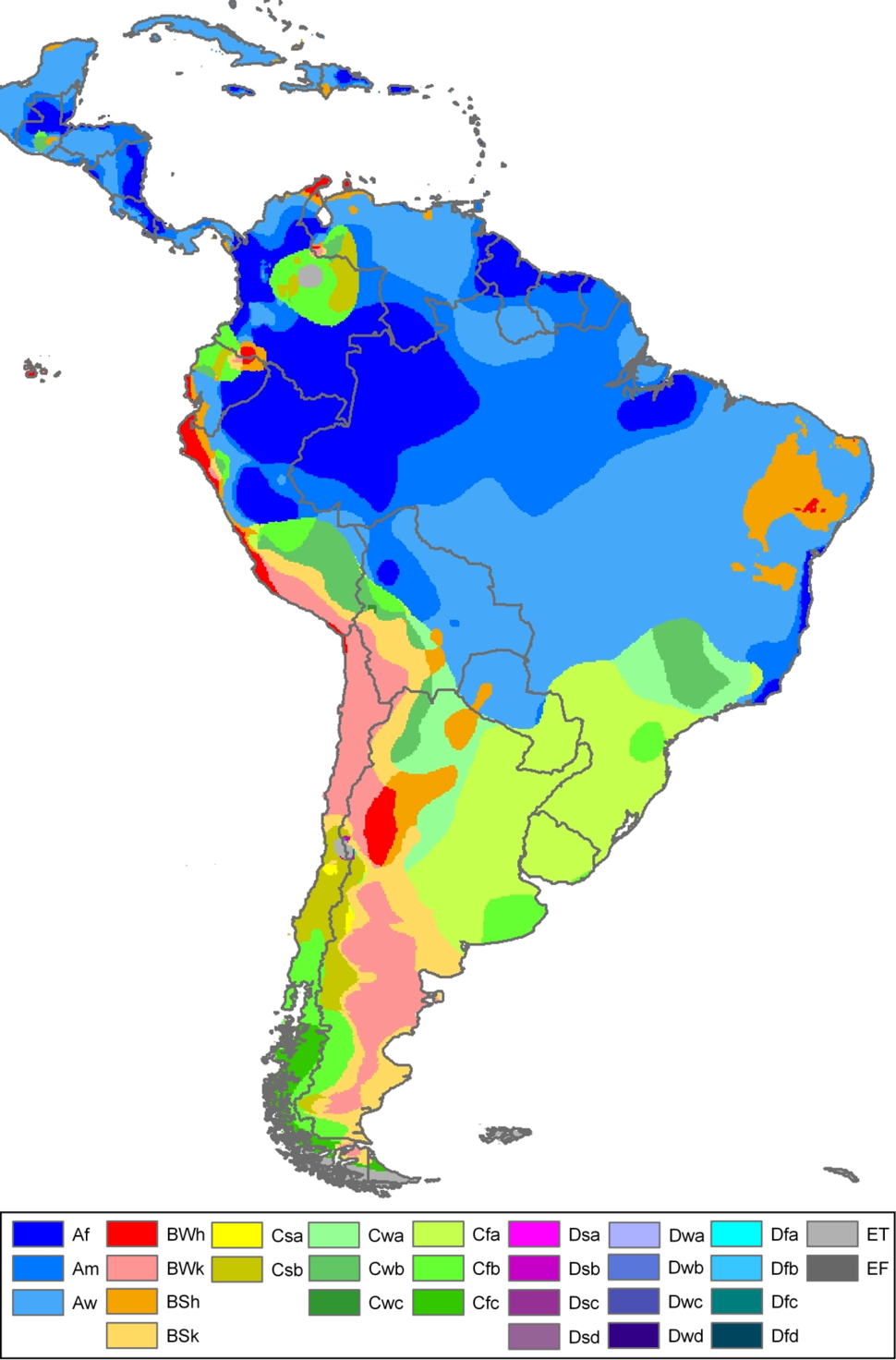 South America Köppen Map