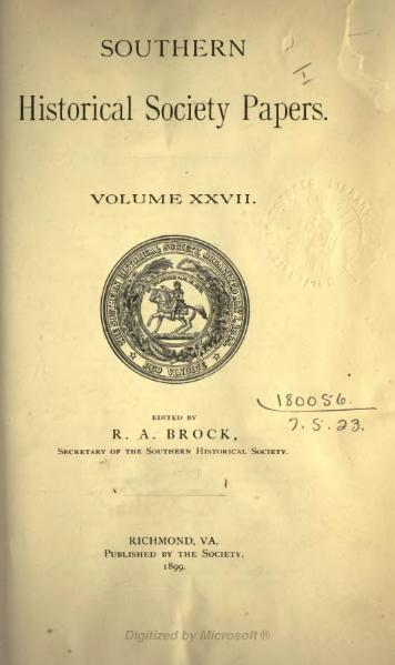 File:Southern Historical Society Papers volume 27.djvu