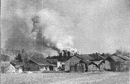 Soviet embassy in Nanjing is being burned down by arson on January 1, 1938. Soviet embassy burned down.PNG