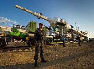 Soyuz TMA-02M - The Soyuz TMA-02M spacecraft is rolled out by train on its way to the launch pad.