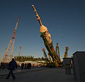 Soyuz TMA-06M rocket is being erected into position.jpg