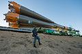 Soyuz TMA-10M spacecraft roll out by train (6).jpg