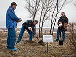 Soyuz TMA-19M crew during the tree planting ceremony.jpg