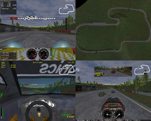A screenshot divided into four regions, showing different views of the start of a race.