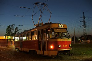 Night service (public transport) - A tram operating a night route in Prague