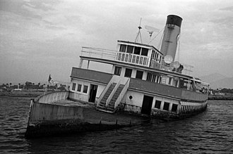 SS Catalina - Catalina aground and partly sunk in Ensenada Harbor