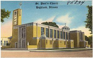 Highland, Illinois - St. Paul's Church on a postcard