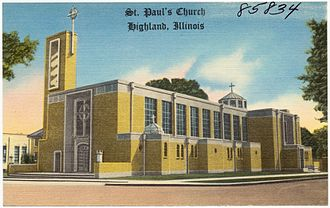 Highland, Illinois - St. Paul's Church on a postcard