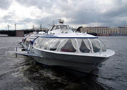 Hydrofoil docking in St.Petersburg upon arrival from Peterhof Palace (2008). St. Petersburg Russia Hydrofoil boat.jpg
