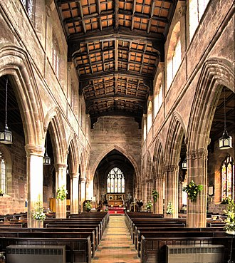 St Mary and All Saints' Church, Great Budworth - Nave looking towards the Chancel from the Font and belltower