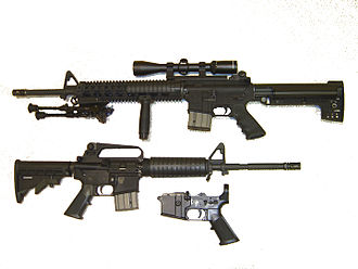 Receiver (firearms) - AR-15 rifles showing their configurations with different upper receivers (stripped-down lower receiver is visible at bottom)