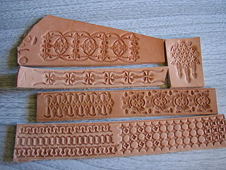Leather crafting - Examples of geometric stamping on leather.