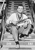 Stan Getz, tenor saxophonist at Kastrup Airport CPH, Copenhagen