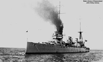 HMAS Australia (1911) - Australia at anchor in Queensland waters