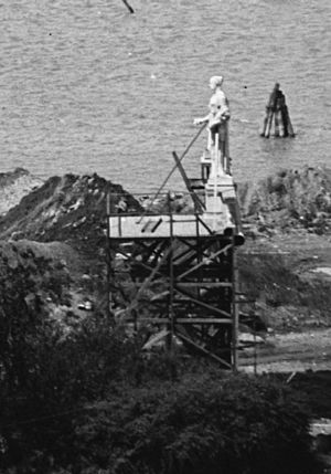 The Arts of War and The Arts of Peace - Statuary mock-ups on view during the construction of Arlington Memorial Bridge in May 1928.