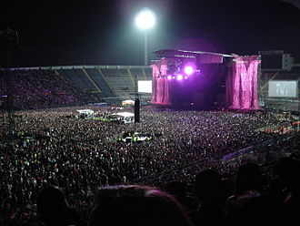 Sticky & Sweet Tour - A bird's eye view of the stadium in Santiago, Chile. The stage was flanked by two giant letters 'M'.