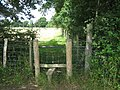 Stile on footpath junction near James Wood - geograph.org.uk - 1388100.jpg