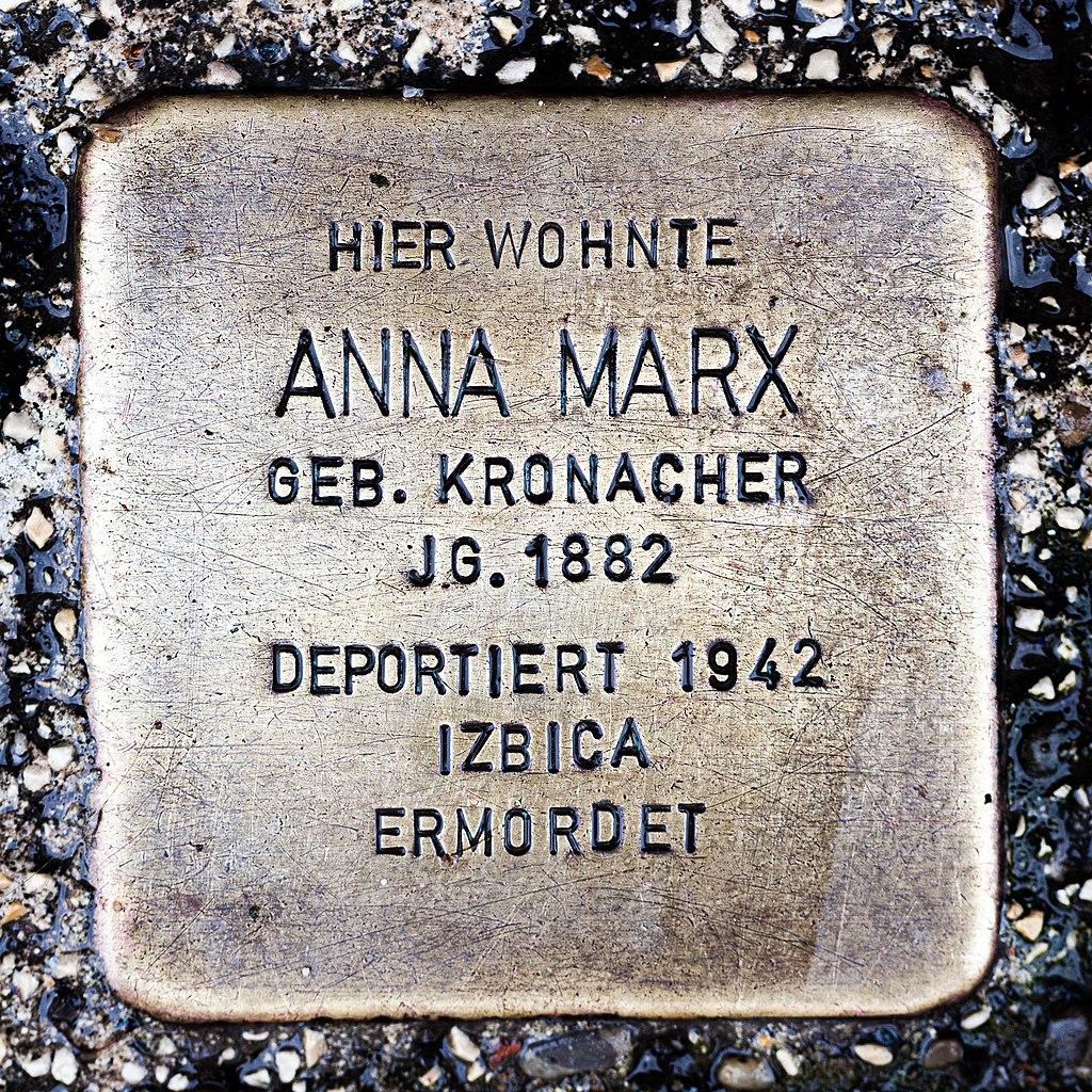 Stolperstein CC Anna Marx 1882-1942.jpg