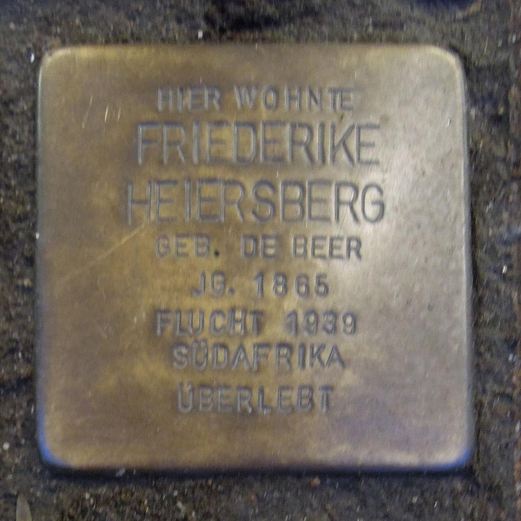 Stolperstein für Friederike Heiersberg geb. de Beer