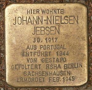 Johnny Jebsen - Stolperstein for Jebsen in Hamburg, Hartungstraße 7 A.