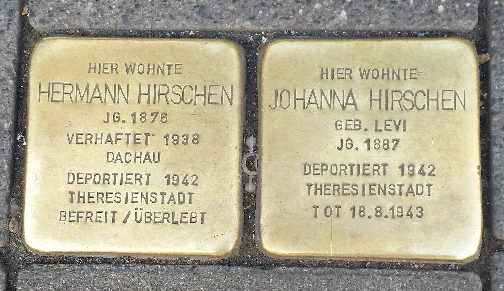 Stolperstein für Hermann und Johanna Hirschen