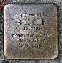 Photo of Hugo Cohn brass plaque