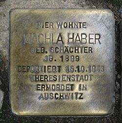 Photo of Machla Haber brass plaque