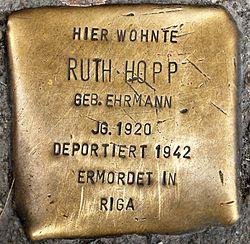 Stolperstein ruth hopp badstraße 64 0047