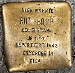 Photo of Ruth Hopp brass plaque