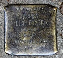 Photo of Johanna Lichtenstein brass plaque