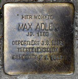 Photo of Max Adler brass plaque