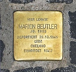 Photo of Marion Beutler brass plaque