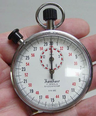 Stopwatch - A typical mechanical analog stopwatch.
