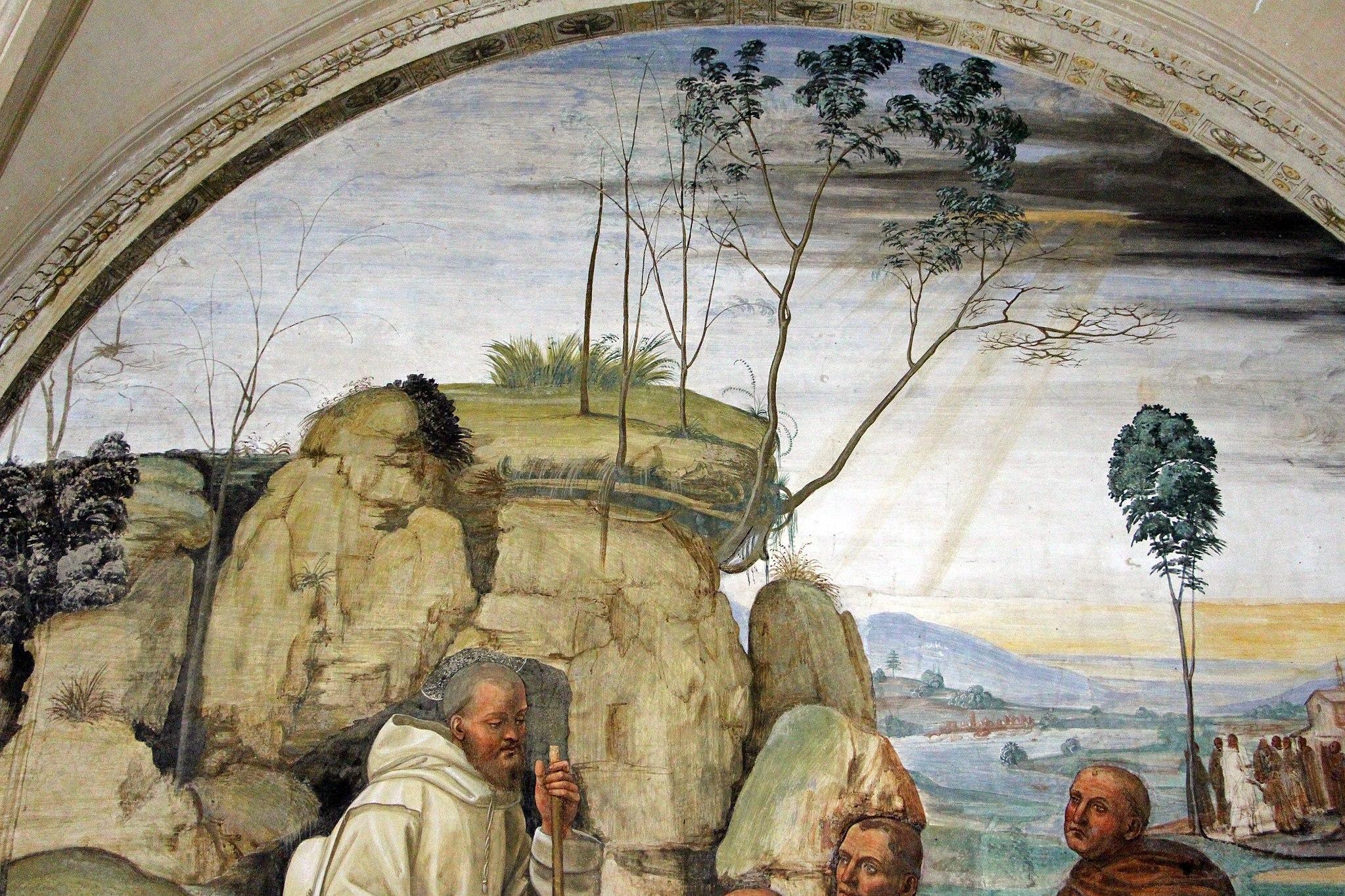 Il Sodoma, Le storie di San Benedetto, Scena 9, Come Benedetto ai prieghi di alcuni eremiti consente di essere loro Abate (particolare), Abbazia di Monte Oliveto Maggiore, Il Cloistro Grande