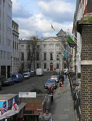 Oriental Club - The Oriental Club, at the end of Stratford Place, as seen from Oxford Street. On the right, the flags of Botswana and Tanzania mark their High Commissions.