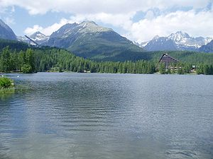 Tatra National Park, Slovakia - Štrbské pleso lake, with the High Tatras in the background.