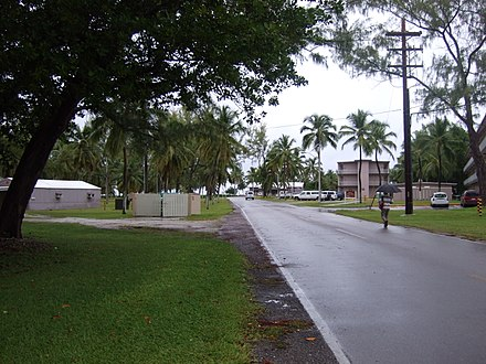 Street in Diego Garcia. Traffic drives on the right, unlike other British territories except for Gibraltar
