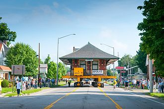Sturgis, Michigan - Sturgis Railroad Depot being moved through Sturgis, MI to its new location on June 24, 2014.
