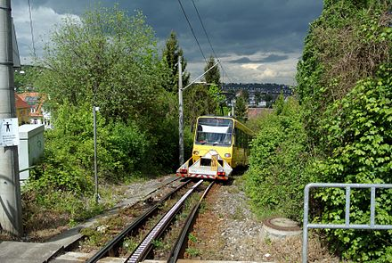 Rack Railway going northwards between Pfaffenweg and Liststraße stations, with wagon to transport bicycles